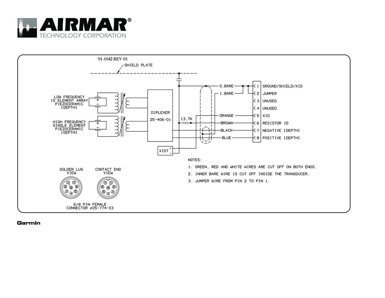 Airmar Wiring Diagram Garmin R199 8 pin (D, T) | Blue