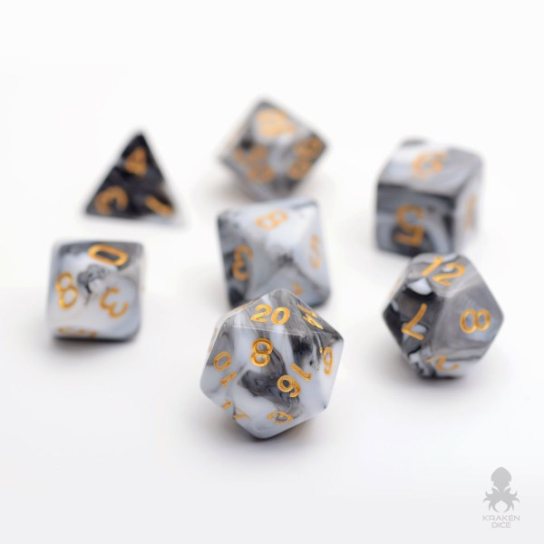 Black   White Faux Marble Dice Set For Role Playing Game Black   White Faux Marble Dice Set For Dungeons and Dragons RPG Role  Playing Game