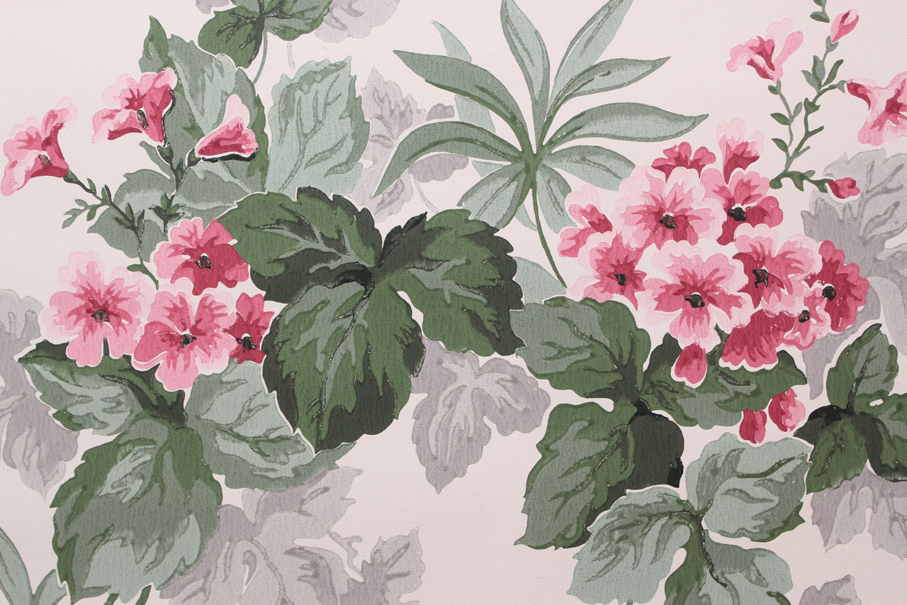 1950s Vintage Wallpaper Pink Flowers on White   Rosie s Vintage     1950s Vintage Wallpaper Pink Flowers on White   Rosie s Vintage Wallpaper