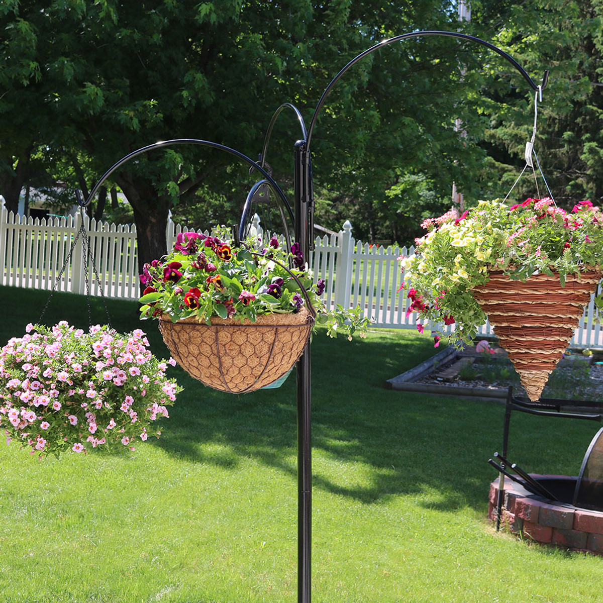 """Sunnydaze Four-Arm Hanging Basket Stand, 84"""" H on Hanging Plants Stand  id=53802"""