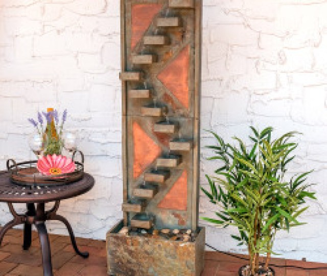 Descending Staircase Slate Indoor Outdoor Water Fountain With Copper Accents And Led Spotlight