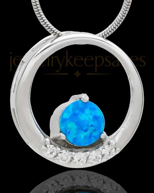 BLUE OPAL SILVER PLATED OBEDIENT ROUND CREMATION PENDANT