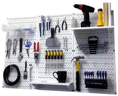 White Pegboard Workbench Organizer Garage Peg Board Kit