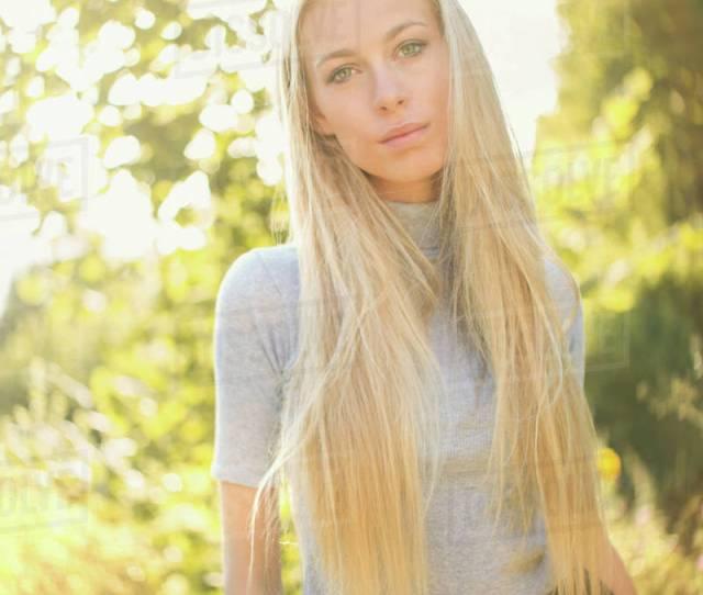 Portrait Serious Beautiful Blonde Teenage Girl Outdoors