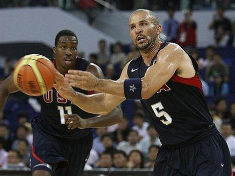Jason Kidd of USA men's basketball team for the Beijing 2008 Olympics (5) passes the ball