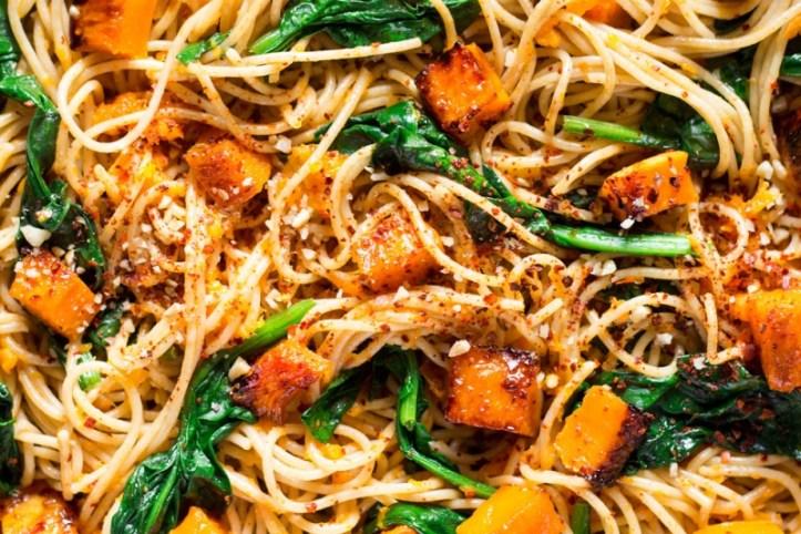 pumpkin spinach walnut spaghetti