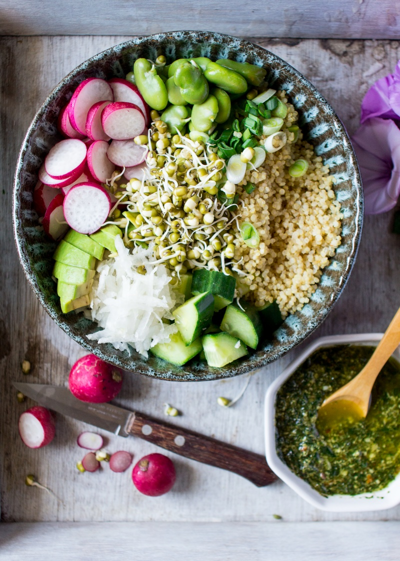 superfood bowl with mint pesto