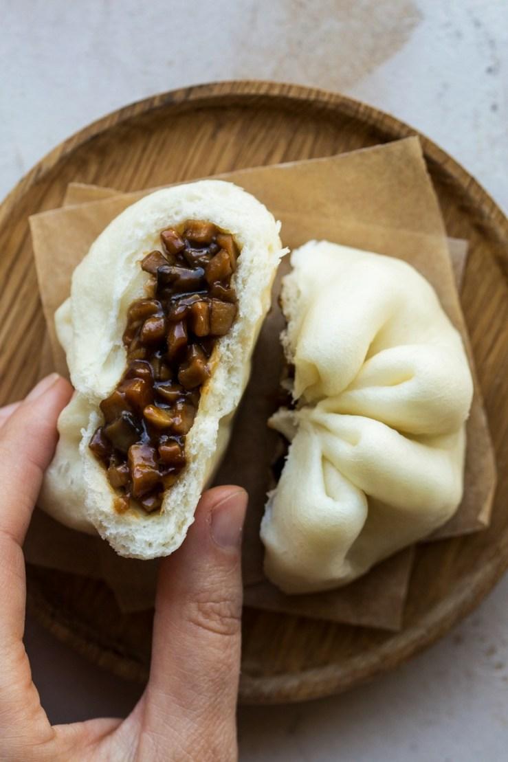 vegan char siu bao cross section