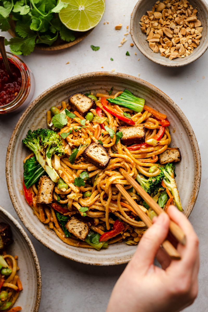 vegan satay noodles bowl chopsticks