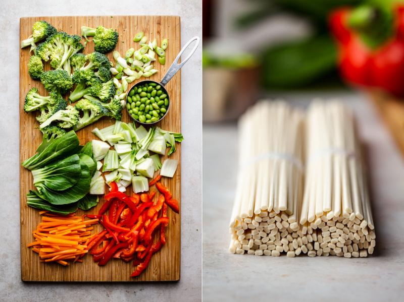 vegan satay noodles ingredients cut noodles