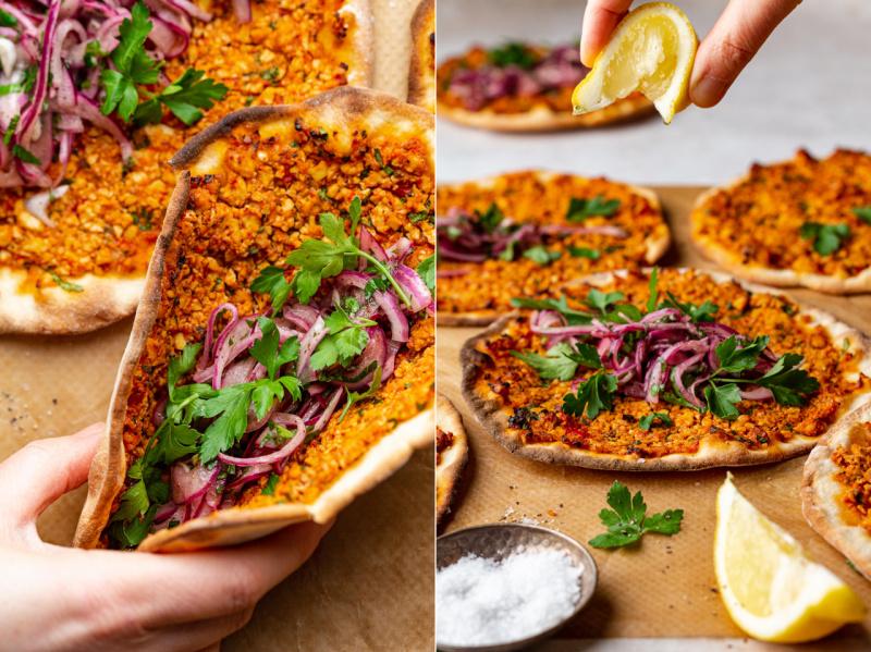 vegan turkish pizza serving