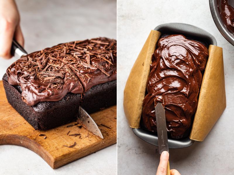 vegan beetroot chocolate cake icing cutting