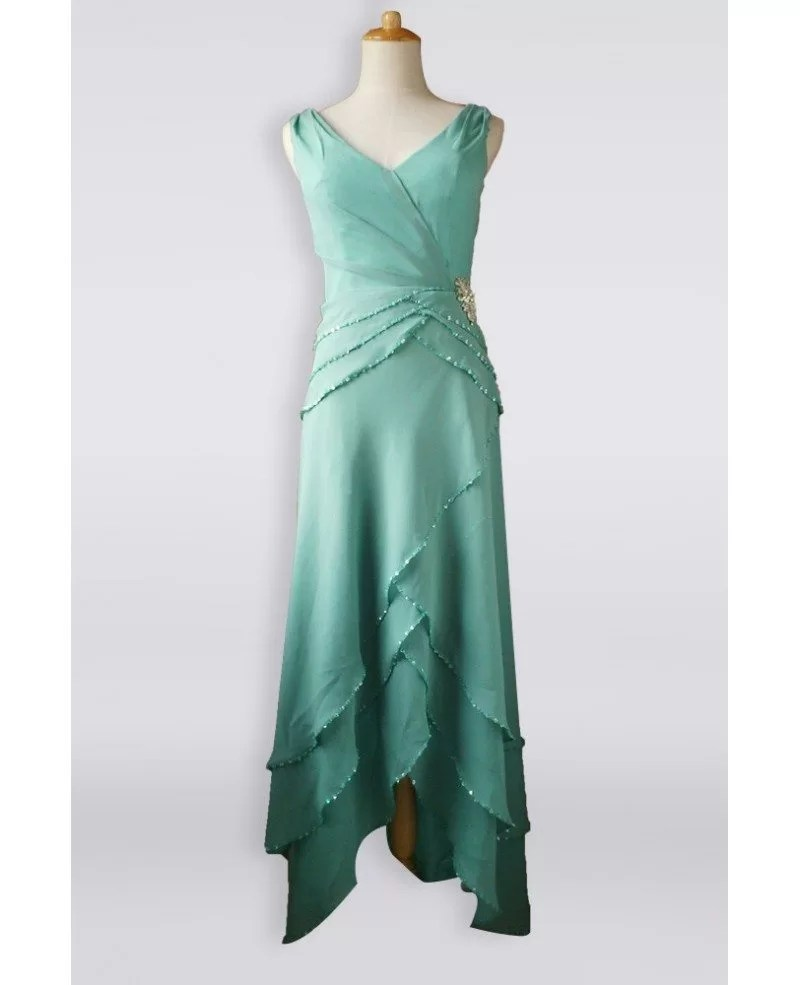 Classy Turquoise Sequined Criss Cross Chiffon Mother Bride Older Brides Formal Dress High Low E7987 Gemgrace Com