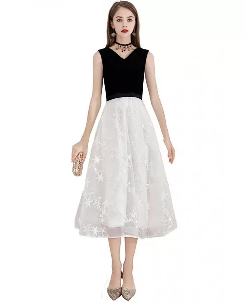 Black And White Lace Semi Formal Dress Tea Length Sleeveless Bls97028 Gemgrace Com