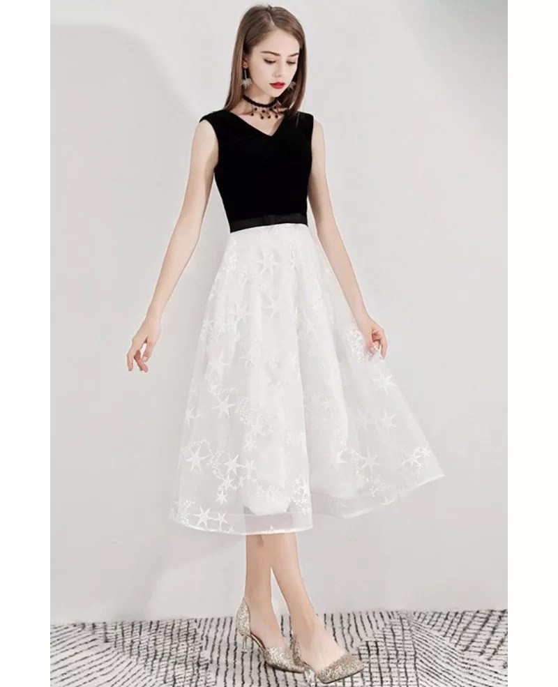 Black And White Lace Semi Formal Dress Tea Length Sleeveless Bls97028 Gemgrace Com