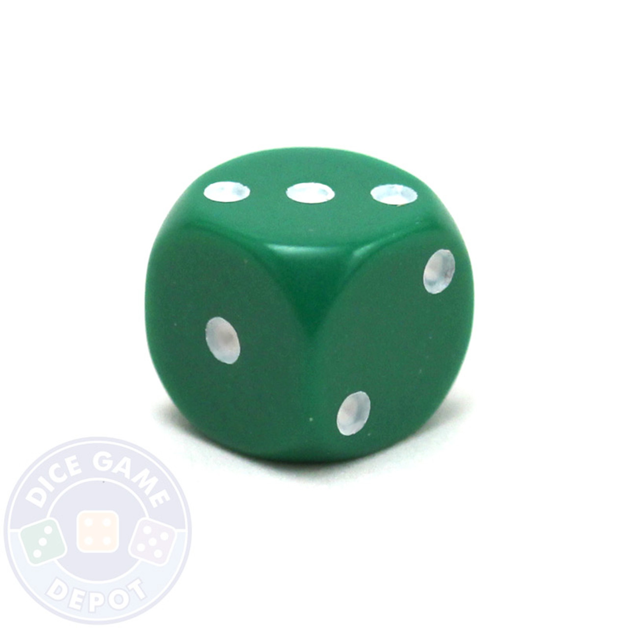 Opaque Round Corner Dice   Green 12mm d6   Dice Game Depot Round corner 12mm opaque dice   Green