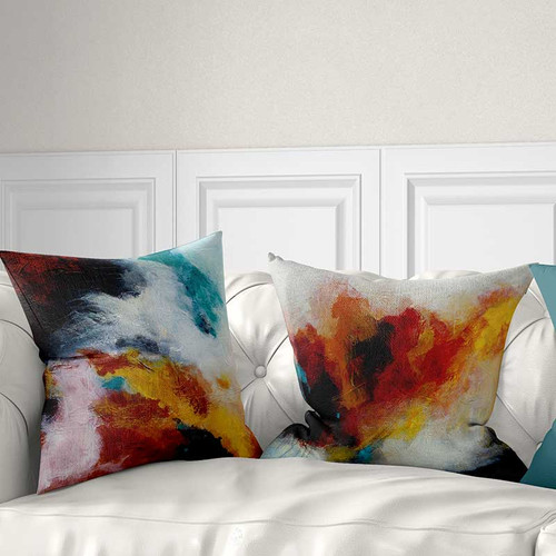 Art Throw Pillow In Red Orange And Teal