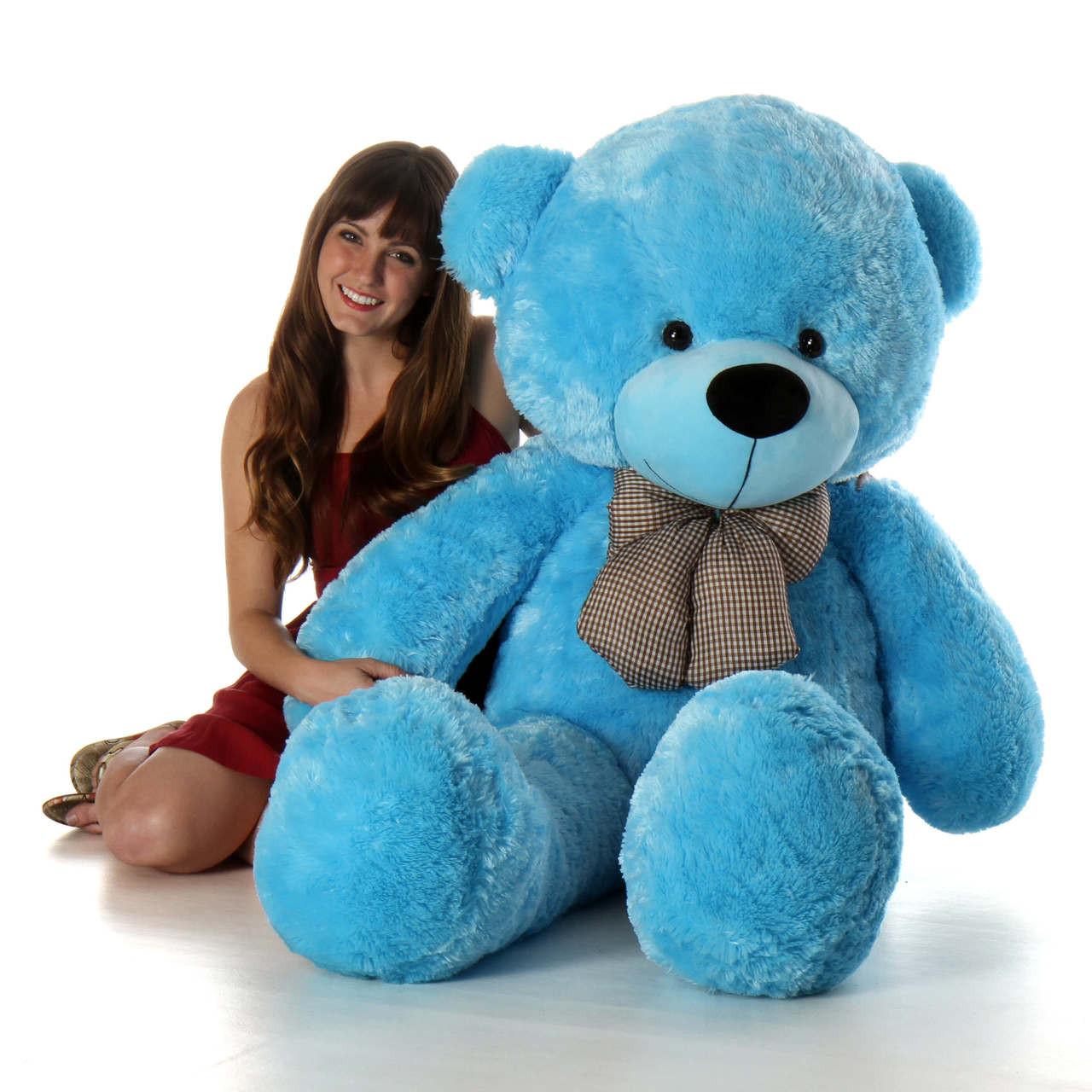 Happy Cuddles 60in Big Blue Plush Teddy Bear Giant Teddy