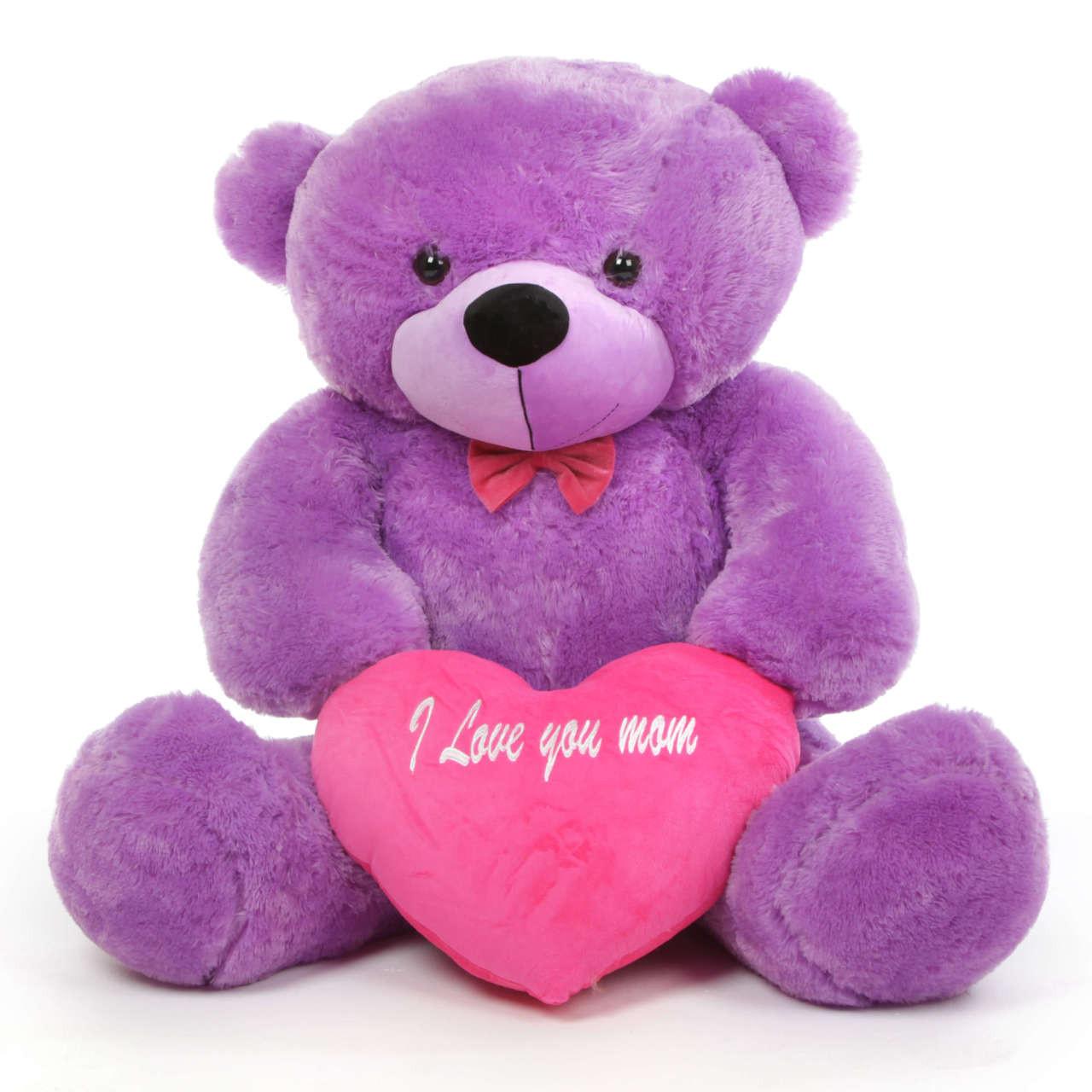 DeeDee M Cuddles 48 Purple Teddy Bear W I Love You Mom
