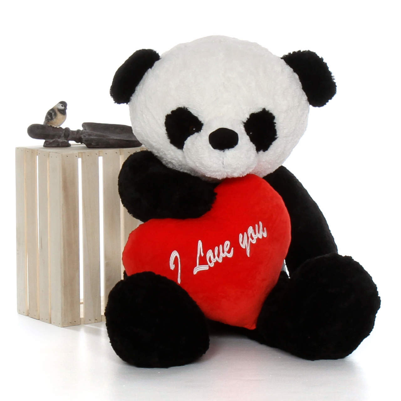 Giant Teddy 4ft Life Size Panda Bear WI Love You Heart