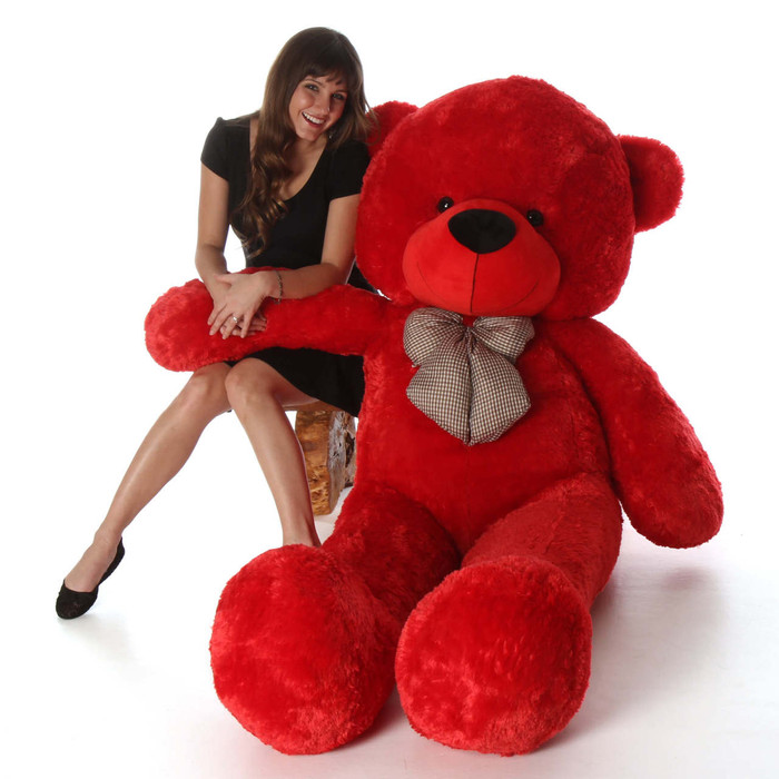 Bright Cuddles 72 Life Size Red Plush Teddy Bear Giant