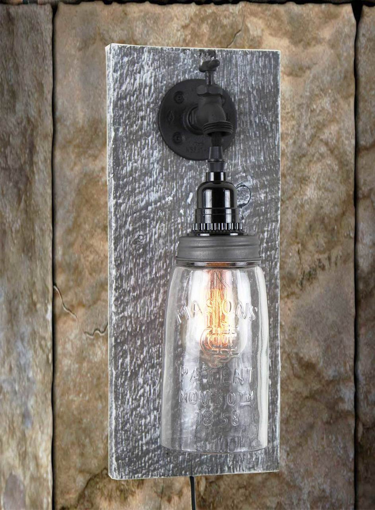 Reclaimed Barn Wood Mason Jar Wall Sconce - Rustic ... on Wood Wall Sconces id=13665
