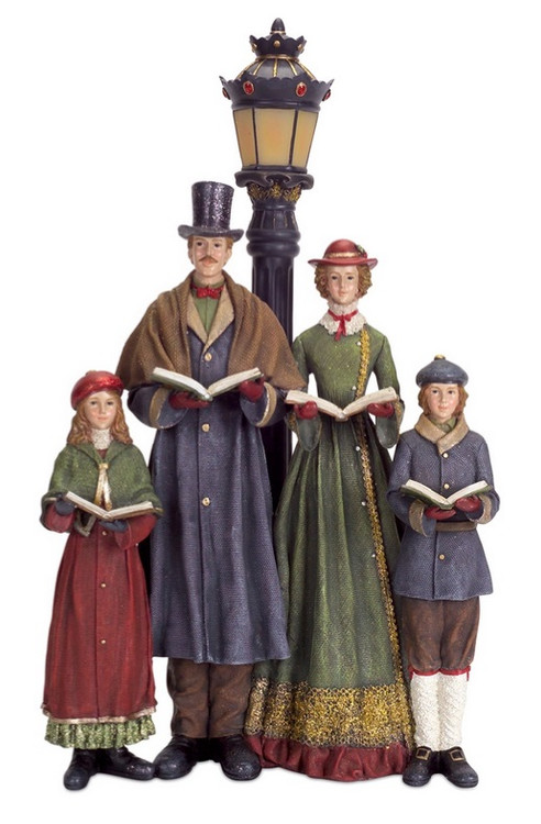 20 LED Lighted Carolers With Lamp Post Table Top