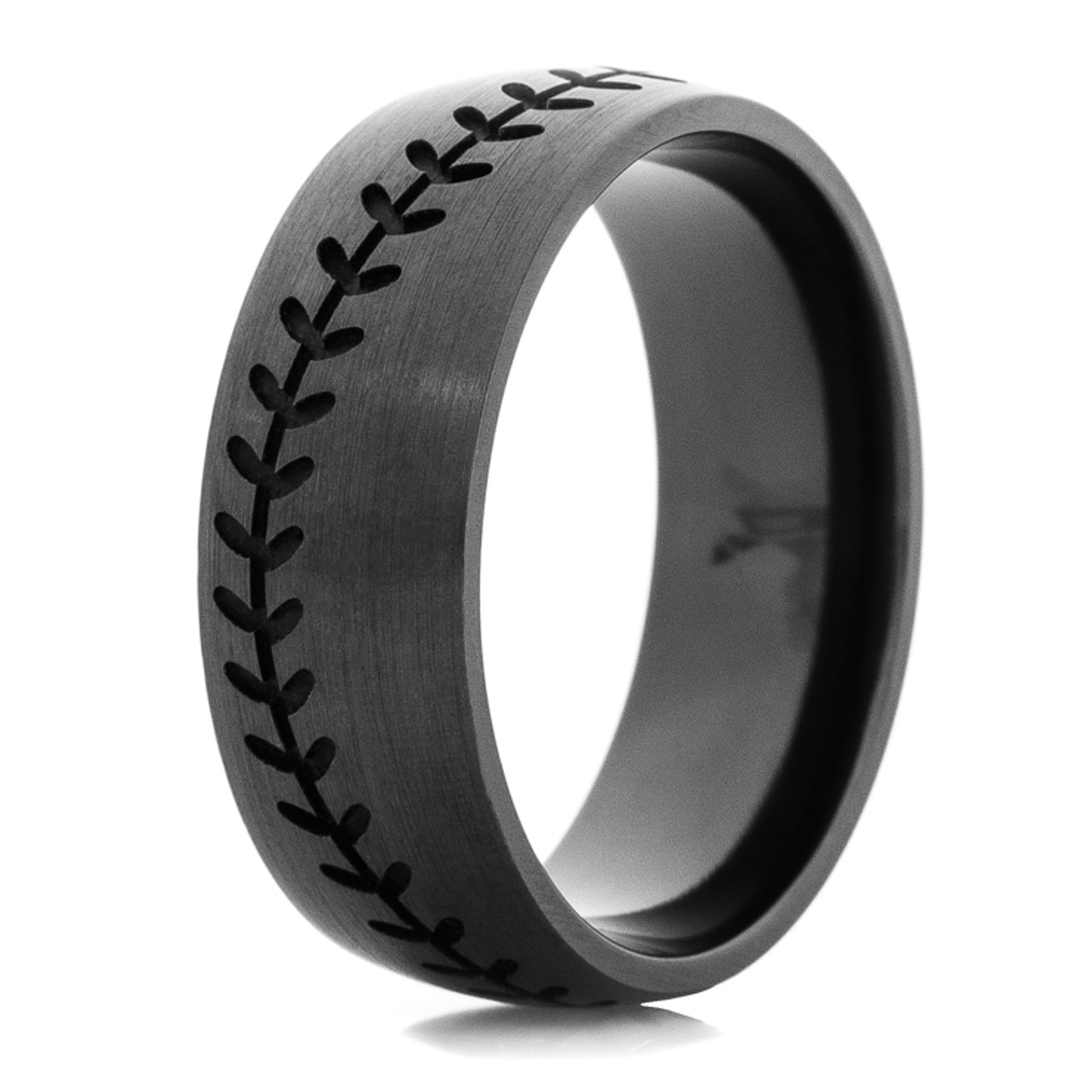 Mens Blacked Out Baseball Wedding Band Titanium Buzz