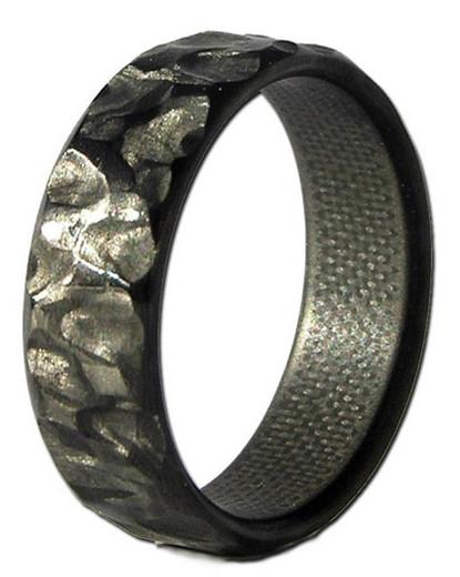 Rock Fiber Narrow Carbon Ring Unique Titanium Rings
