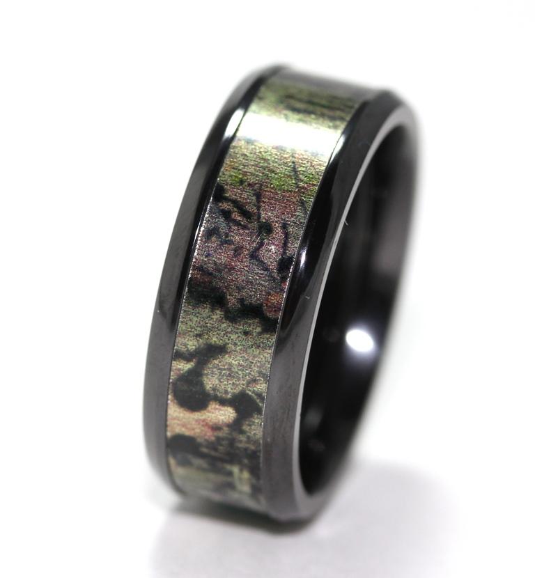 Black Mossy Oak Infinity Camo Wedding Band Titanium Buzz
