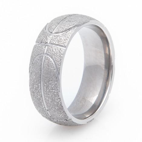 Mens Titanium Basketball Wedding Ring Titanium Buzz
