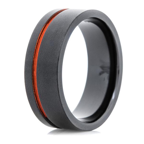Mens Black Ring With Offset Orange Inlay Titanium Buzz