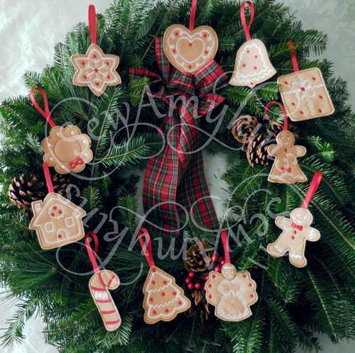 Gingerbread Tree Cookie Ornament Christmas Felt Machine