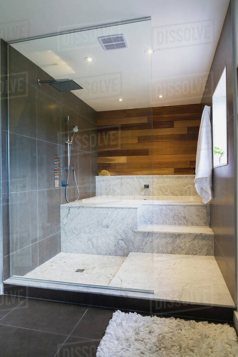 Wet Room Style Glass Shower Stall With Grey And White Marble Steps And Red Cedar Wooden Wall Quebec Canada Stock Photo Dissolve