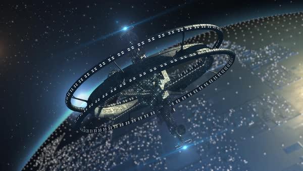 3D model of futuristic space ship in interstellar deep
