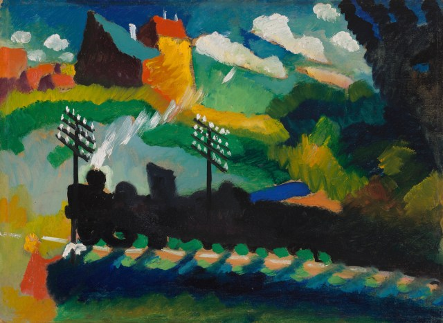 Wassily Kandinsky Eisenbahn bei Murnau GMS 49 Lenbachhaus • The Evolution of Kandinsky's Painting: A Journey from Realism to Vibrant Abstraction Over 46 Years Art, History