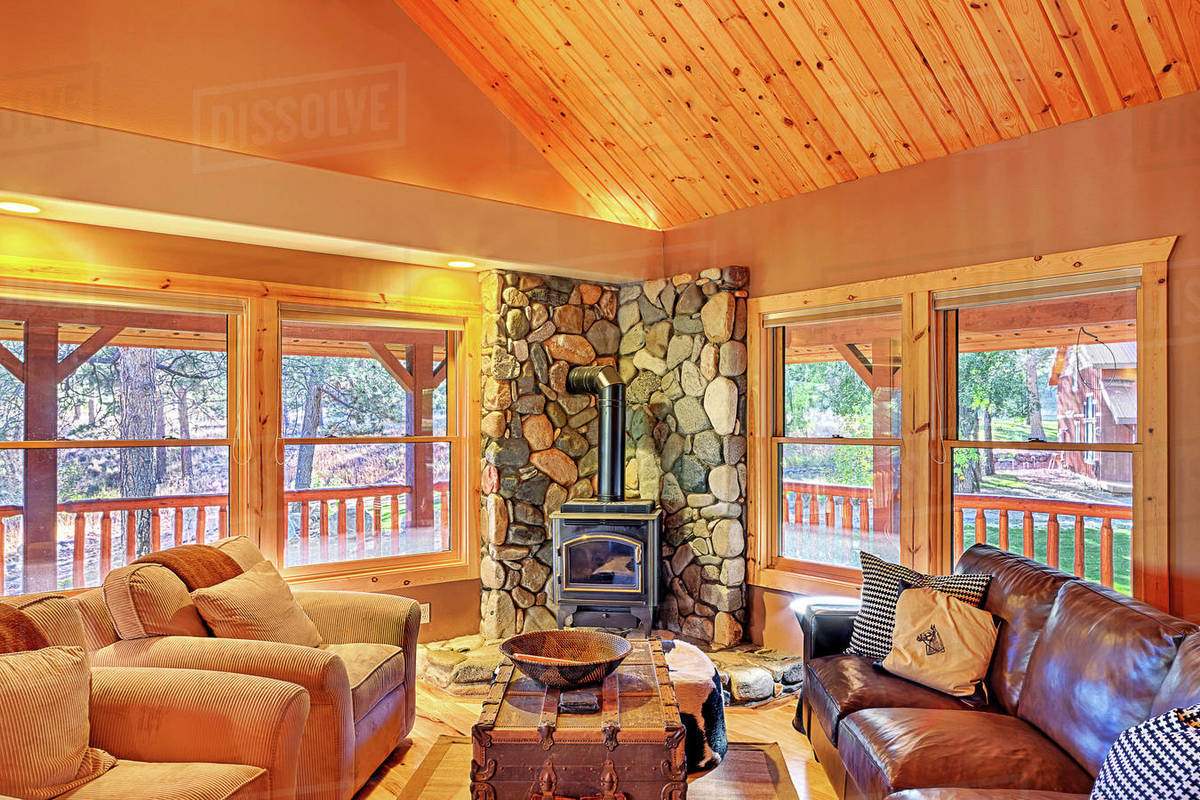 Sofas And Fireplace In Rustic Living Room D1024 117 477