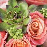 Two Golden Wedding Rings On Bouquet On Roses And Succulent Wedding Rings And Flowers Concept Stock Photo Dissolve