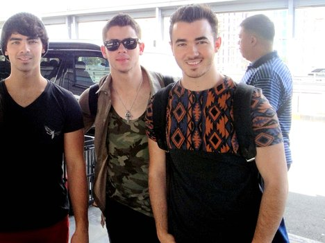 The Jonas Brothers at the NAIA Terminal 3 in Manila, Philippines