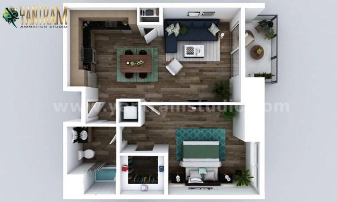 Artstation Small New Style One Bedroom Apartment Floor