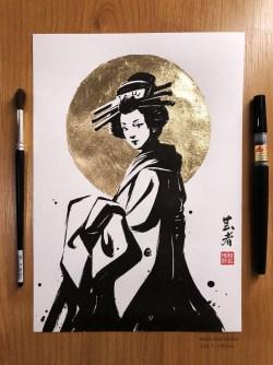 ArtStation - Gold leaf and ink serie, Nogi San