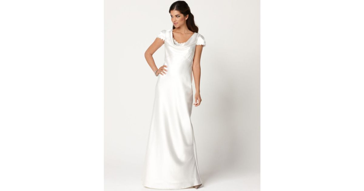 Eliza J Cap Sleeve Lace Trim Satin Cowl Neck Gown Only At