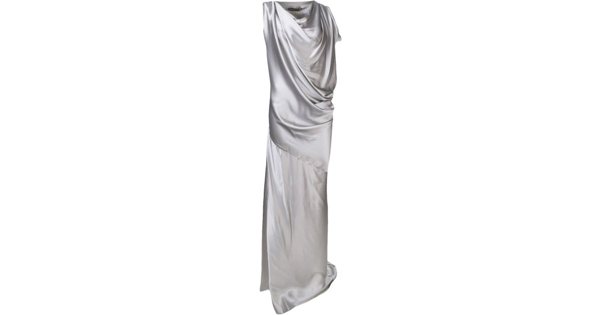Plein Sud Draped Cowl Neck Dress In Metallic