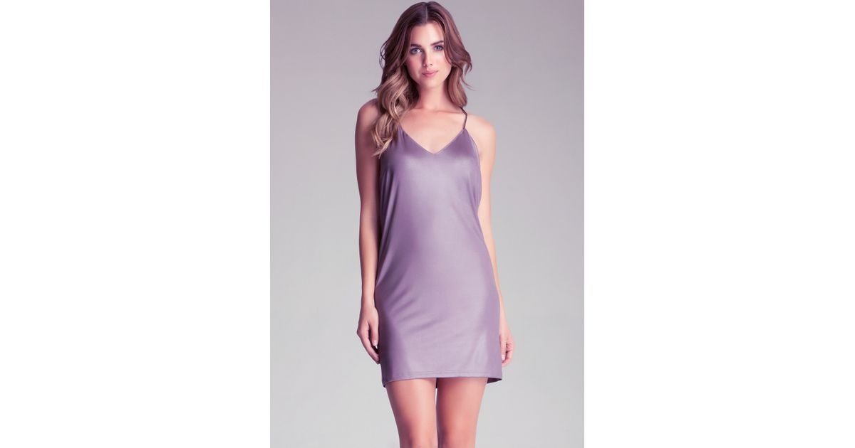 Bebe Chain Cowl Neck Dress In Purple
