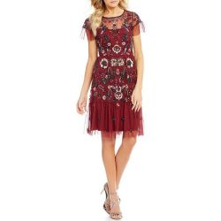d2e32609526 Lyst Gianni Bini Wendy Short Sleeve Floral Sequin Dress In Red