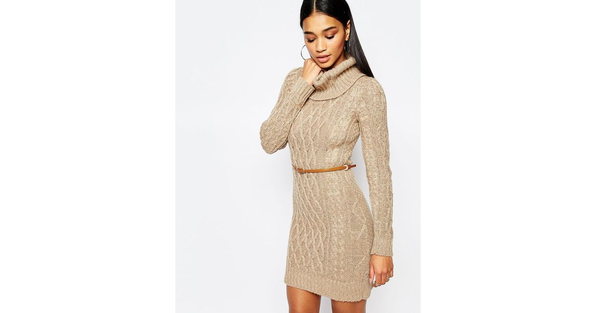 Lipsy Synthetic Cable Knit Dress With Cowl Neck In Tan