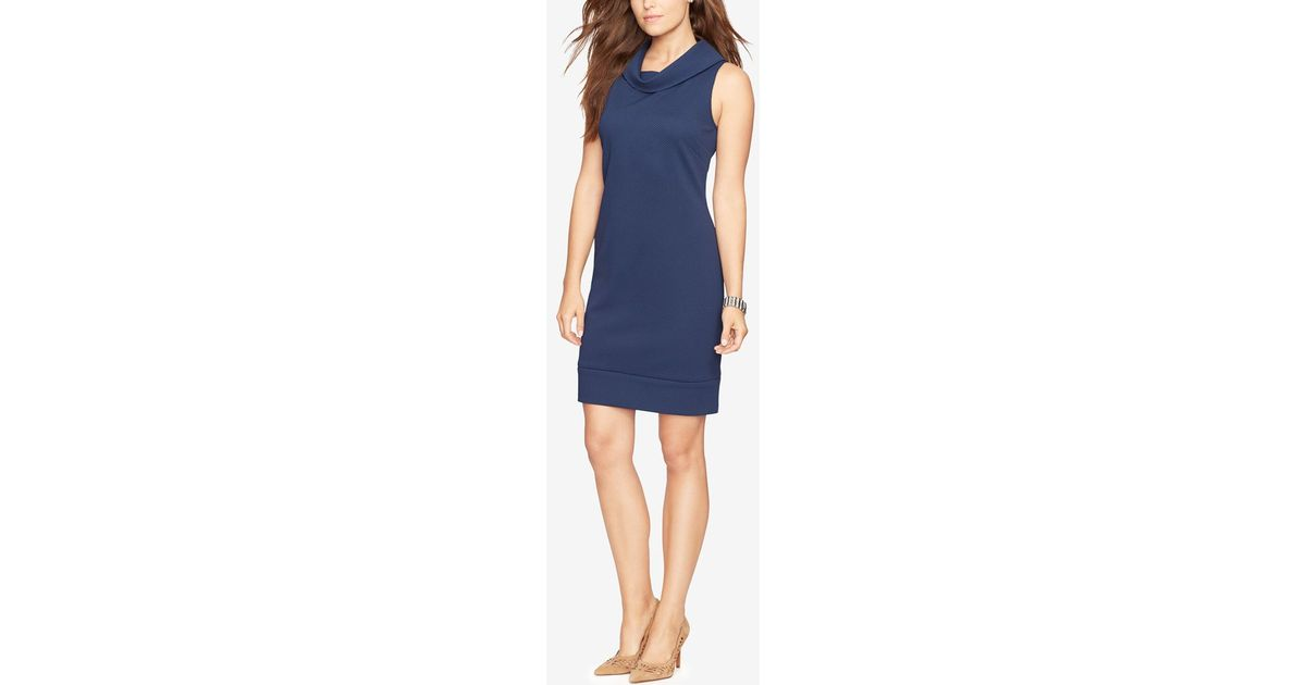 American Living Cowl-neck Sheath Dress In Blue