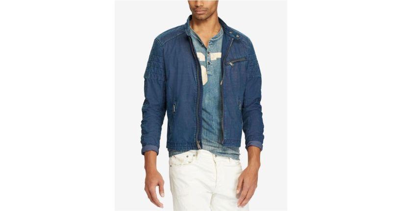 65d153b9005 Lyst Polo Ralph Lauren Indigo Café Racer Denim Jacket In Blue For Men
