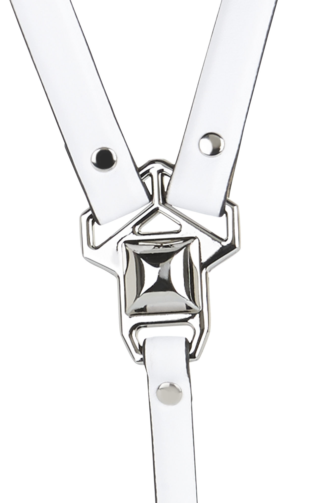 Bcbgmaxazria Pyramidstud Harness Waist Belt In White