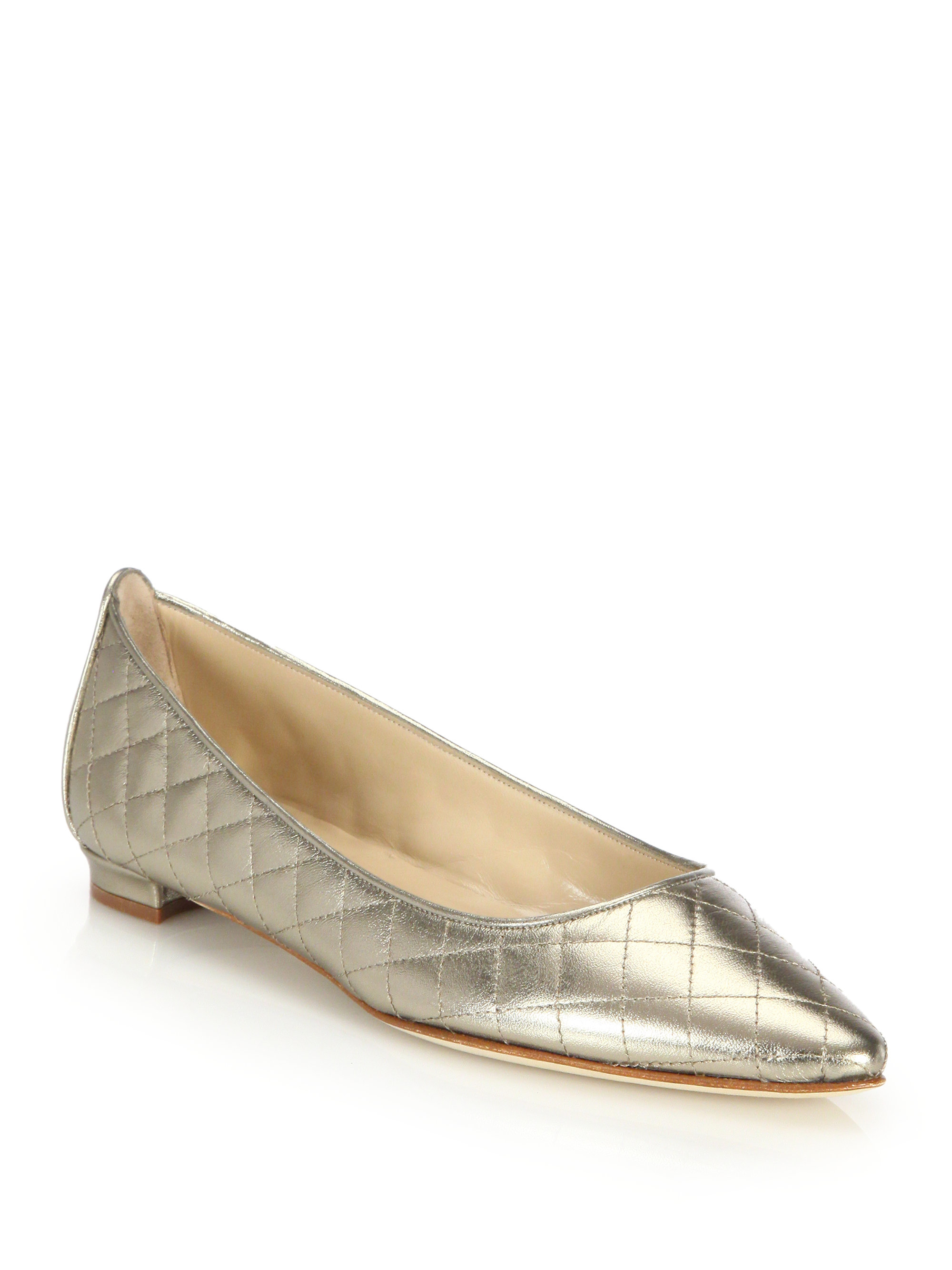Manolo Blahnik Abat Quilted Leather Ballet Flats In Beige